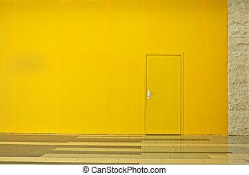 mur, porte, jaune
