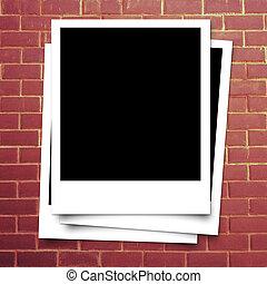 mur, porte-photo, brique, rouges