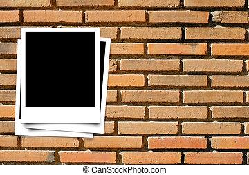 mur, porte-photo, texture, fond, brique