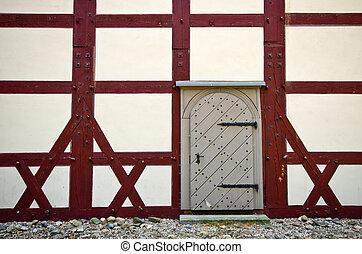 mur, porte, vieux
