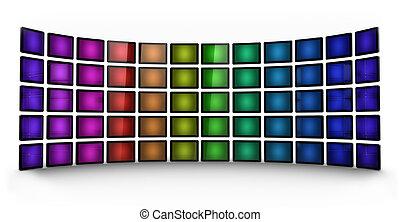 mur, présentation, -, coloré