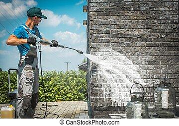 mur, pression, brique, lavage
