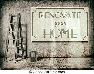 mur, rénovation, rénover, temps, maison, ton