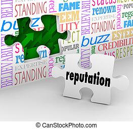 mur, réputation, mots, honorable, référence, trusted
