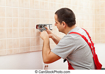 mur, rencontre, électrique, installation, électricien