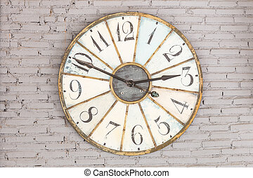 mur, retro, horloge