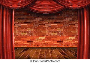 mur, rideaux, brique, rouges, arrière-plan.