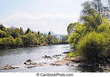 Mur river in styria (Austria). Springtime.
