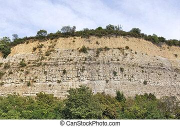 mur, rocher, couvert, protéger, filet, route