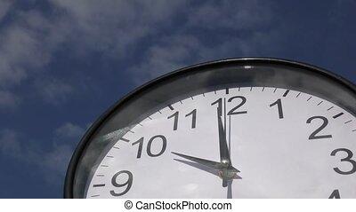 mur, rond, horloge