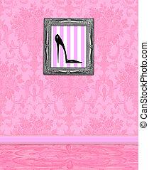 mur, rose, boudoir, damassé
