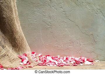 mur, roses, hessian, fond