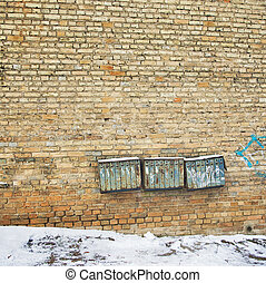 mur, rouillé, boîtes lettres