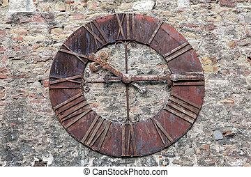 mur, rouillé, vieux, horloge