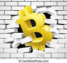 mur, rupture, bitcoin, signe, brique blanche, icône