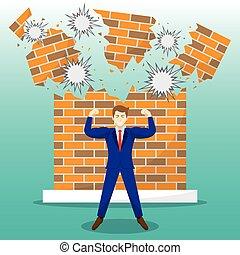 mur, rupture, devant, homme affaires, brique, fort