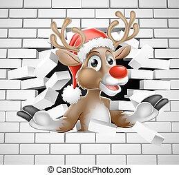 mur, rupture, renne, santa, brique, chapeau, dessin animé