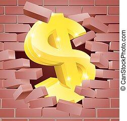 mur, rupture, signe dollar, par, brique