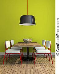 mur, salle manger, moderne, vert, partie