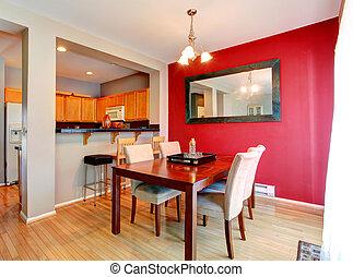 mur, salle manger, rouges, contraste