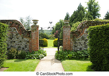 mur, sentier, jardin