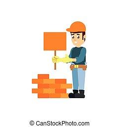 mur, signal, ouvrier, construction, brique, bannière