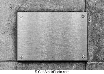 mur, signe métal, béton, vide, nameboard, ou