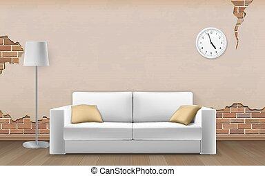 mur, sofa, blanc, vieux, fond