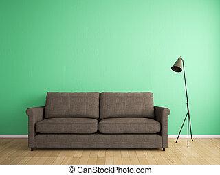 mur, sofa, décoration, vert, tissu
