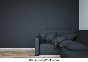 mur, sofa, noir, vide