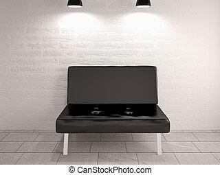 mur, sofa, rendre, chaise, intérieur, brique blanche, conception, 3d