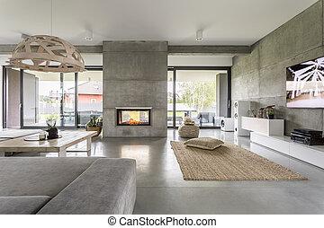 mur, spacieux, ciment, villa