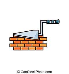 mur, spatule, brique, construction