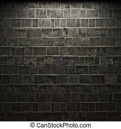 mur, sten, belyst