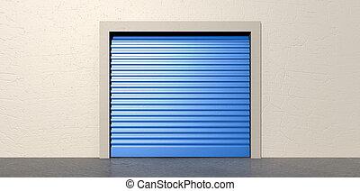mur, stockage, porte, fermé