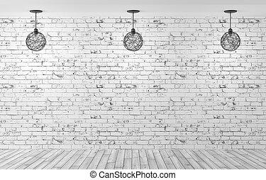 mur, sur, trois, rendre, lampes, brique, 3d