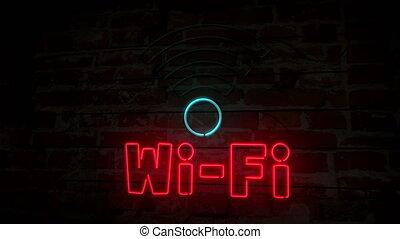 mur, symbole, néon, brique, wi-fi, 3d