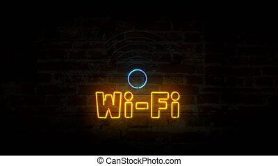 mur, symbole, wi-fi, néon, brique