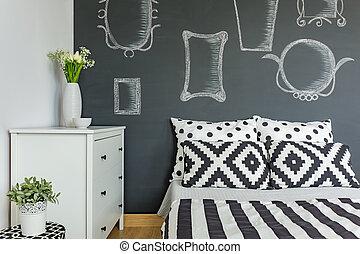 mur, tableau noir, chambre à coucher