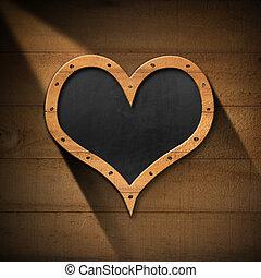 mur, tableau noir, coeur, bois, formé