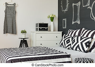 mur, tableau noir, salle moderne