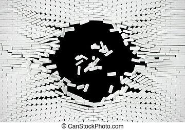 mur, text., illustration, vide, blanc, destruction, 3d