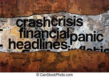 mur, texte, gros titres, financier, crise