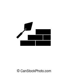 mur, truelle, icône, brique