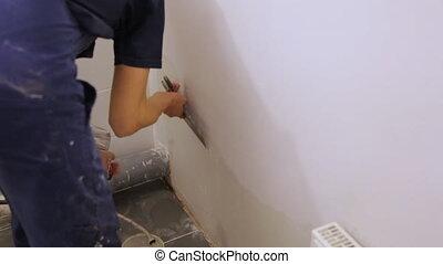 mur, truelle, ouvrier, plâtrer