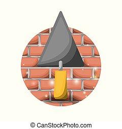 mur, truelle, spatule, fond, brique blanche, circulaire