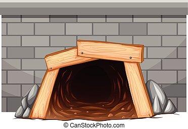 mur, tunnel, entrée