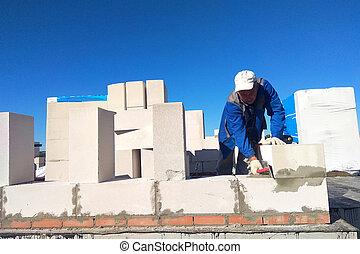 mur, utilisation, blocs, maître, truelle, essence, colle, moniteurs
