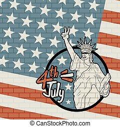 mur, vendange, américain, brique, fond