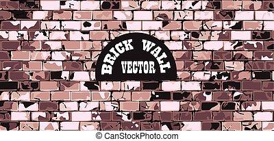 mur, vendange, brique, fond